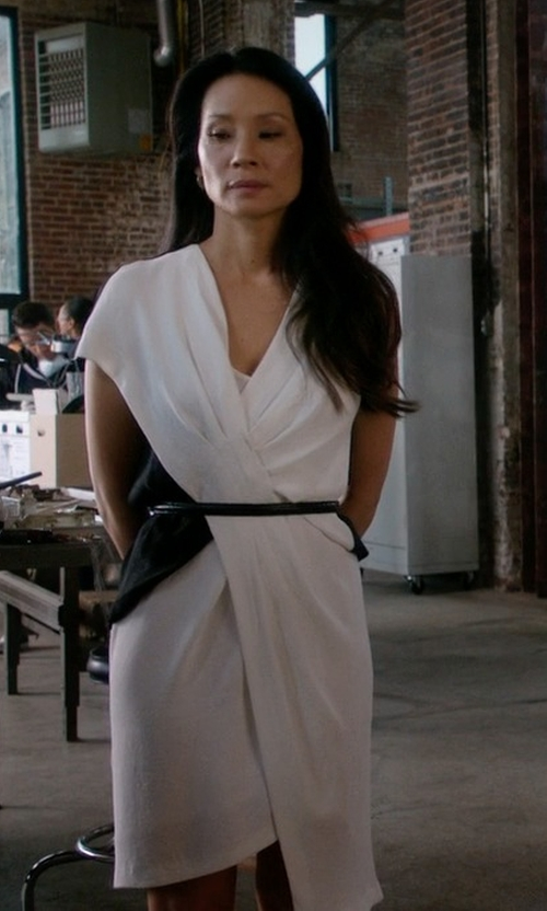 Lucy Liu with Helmut Lang Cross Tuck Dress in Elementary