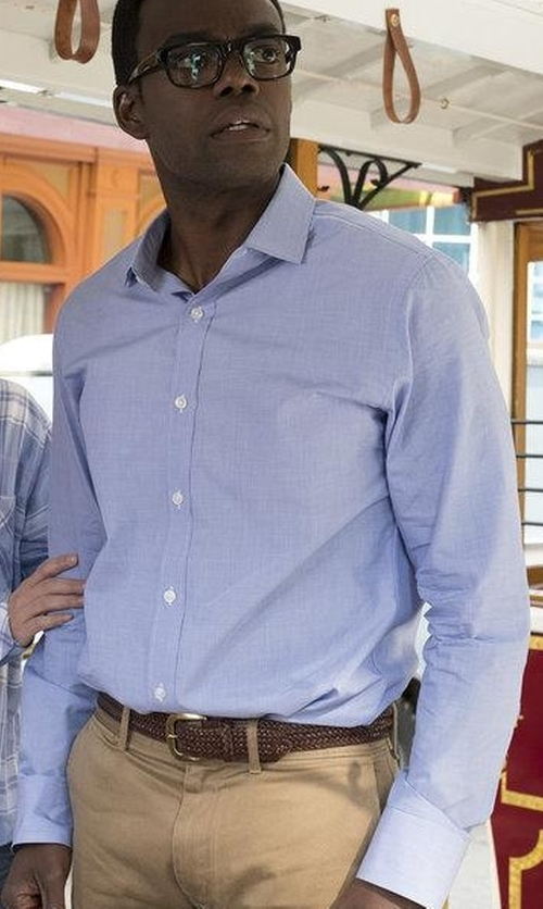 William Jackson Harper with Lorenzo Uomo Trim Fit Texture Dress Shirt in The Good Place