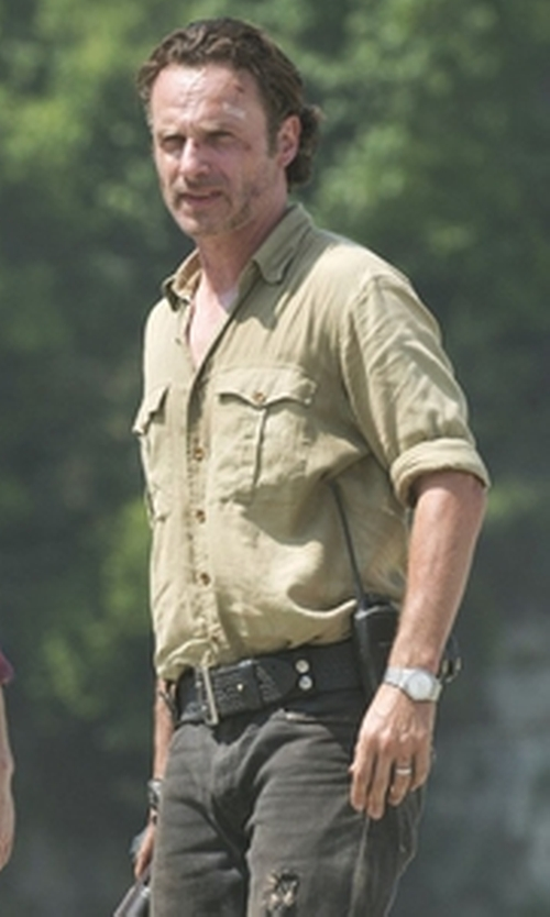 Andrew Lincoln with Columbia Omni-Shade Glen Meadow Button-Down Shirt in The Walking Dead