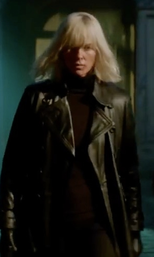 Charlize Theron with A.L.C. Elisa Cropped Ribbed Turtleneck Sweater in Atomic Blonde