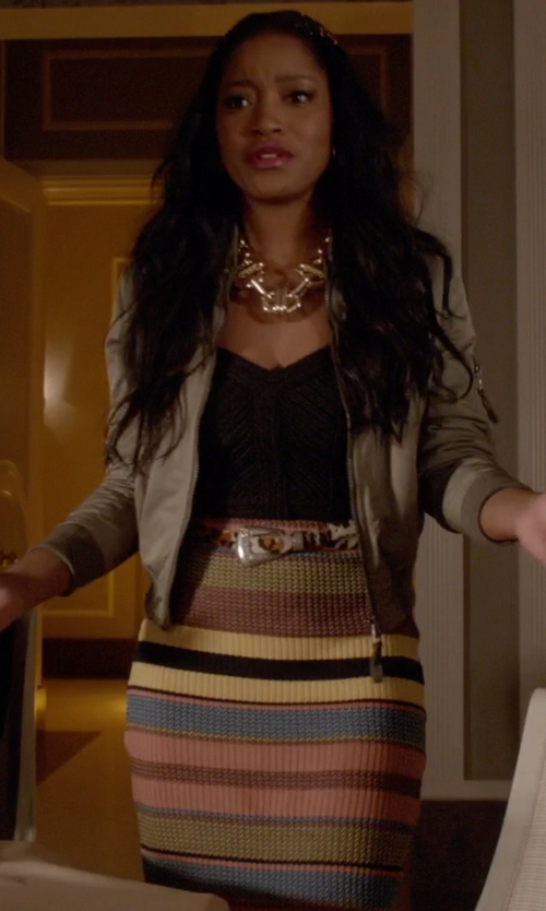 Keke Palmer with Topshop Chevron Stripe Ribbed Skirt in Scream Queens