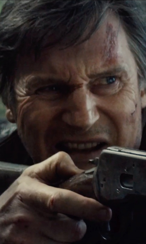 Liam Neeson with French Connection Hell For Leather Biker Jacket in Run All Night