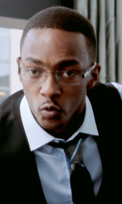 Anthony Mackie with Lanvin Diagonal Stripe Tie in Black or White