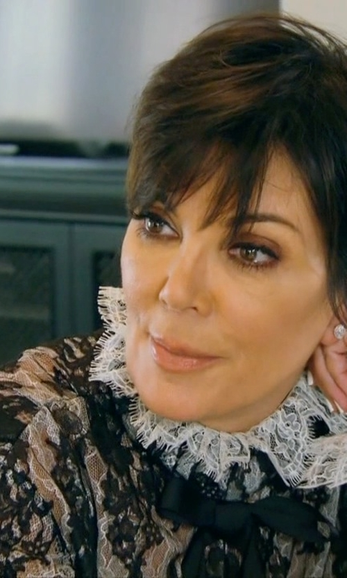 Kris Jenner with Tamara Mellon Lace Turtleneck Blouse in Keeping Up With The Kardashians