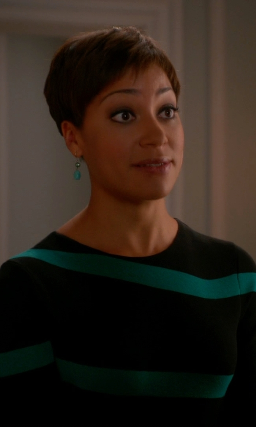 Cush Jumbo with Shoshanna Long-Sleeve Contrast-Stripe Dress in The Good Wife
