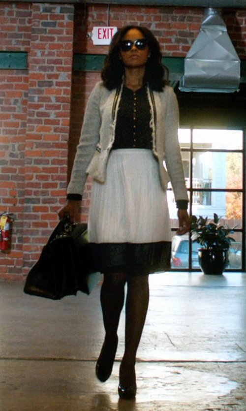 Sharon Leal with Forever 21 Accordion Pleated Midi Skirt in Addicted