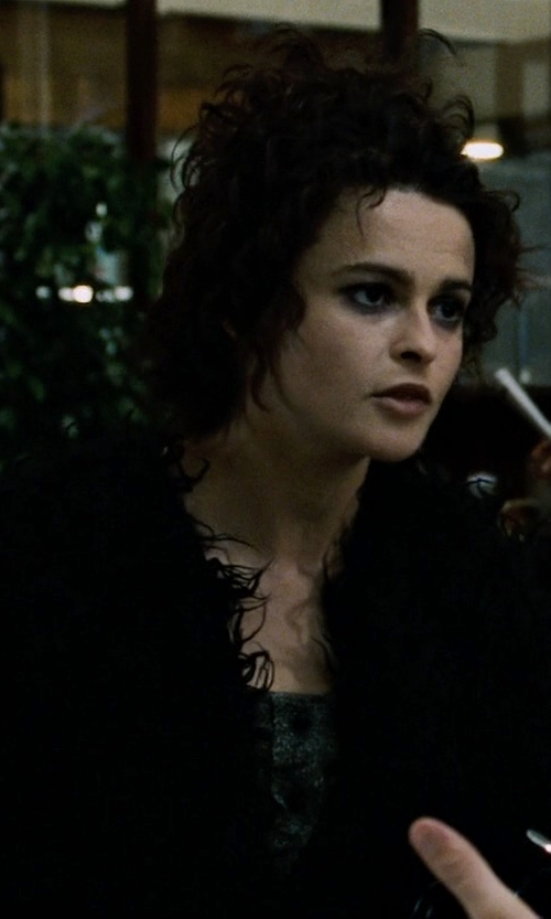 Helena Bonham Carter with Missguided Cloe Shaggy Faux Fur Coat in Fight Club