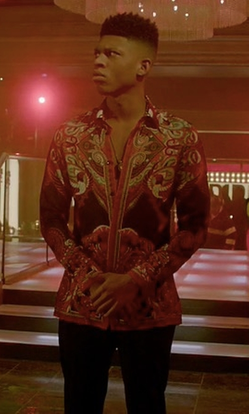Bryshere Y. Gray with Versace Collection Bold Ethnic Graphic Silk Shirt in Empire
