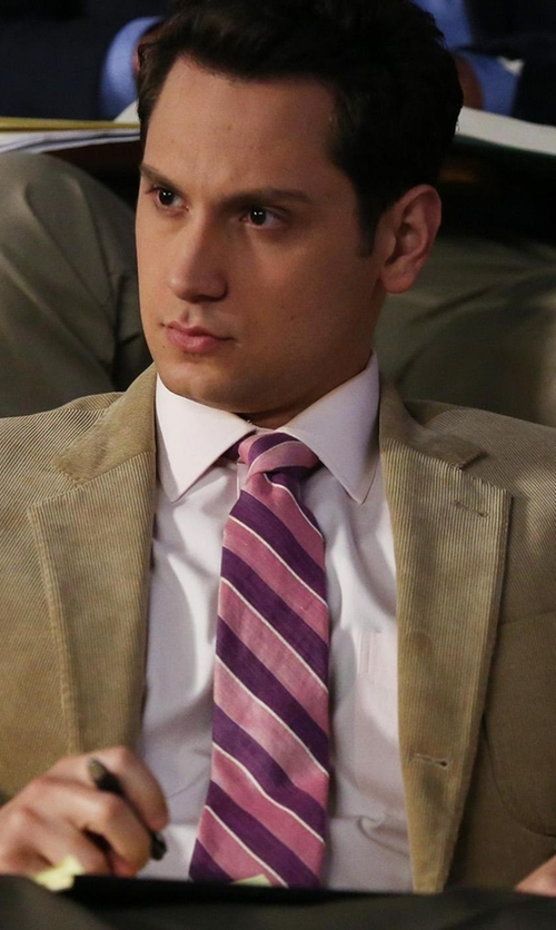 Matt McGorry with Gitman Stripe Silk Tie in How To Get Away With Murder