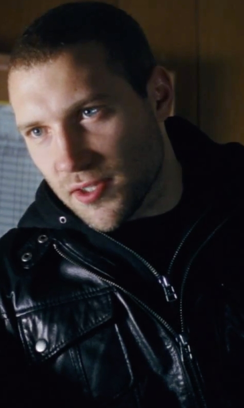 Jai Courtney with 7 Diamonds Men's Black 'Los Angeles' Trim Fit Leather Moto Jacket in Jack Reacher