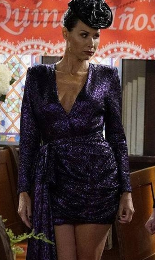Minnie Driver with Redemption Plunging Metallic Jacquard Dress in Will & Grace