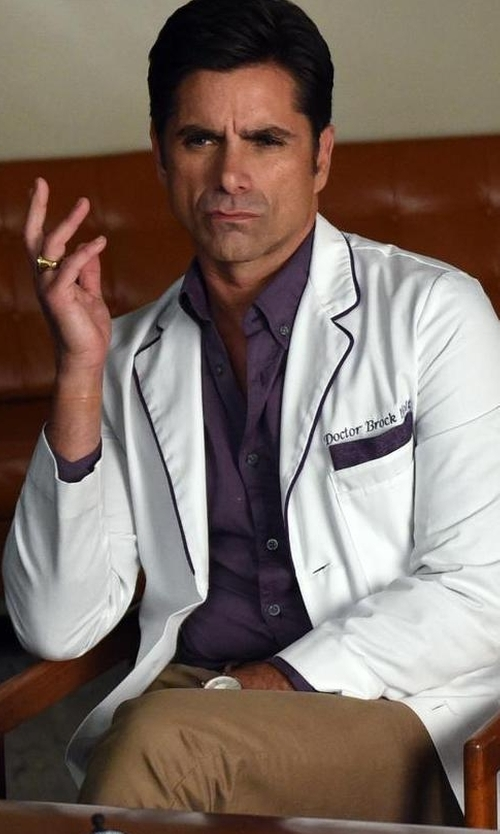 John Stamos with Incotex Slim Batavia Flat Front Pants in Scream Queens