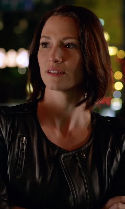 Chyler Leigh with Muubaa Ramu Cropped Collarless Biker Jacket in Supergirl