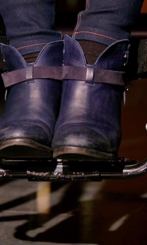 Emily Bett Rickards with Rag & Bone Harrow Leather Ankle Boots in Arrow