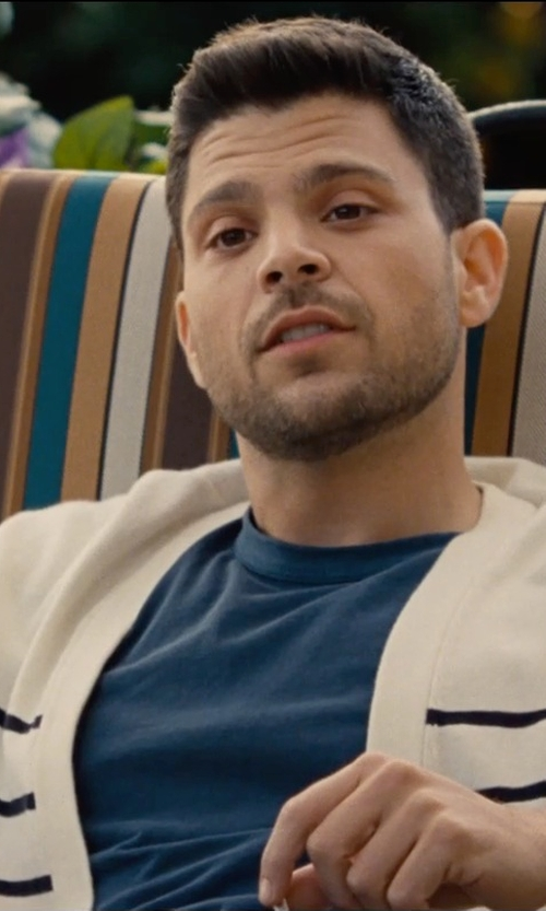 Jerry Ferrara with Shipley & Halmos Blue Laszlo Multi Stripe Cardigan in Entourage