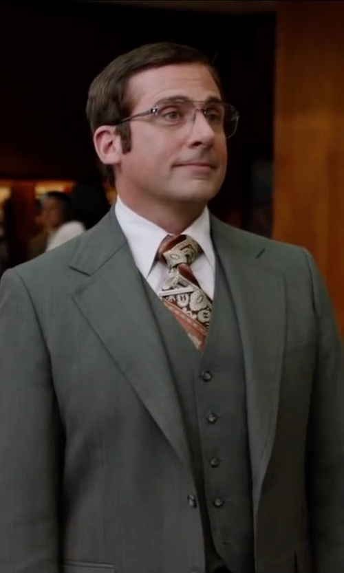 Steve Carell with Ralph Lauren Charcoal Vested Suit in Anchorman 2: The Legend Continues