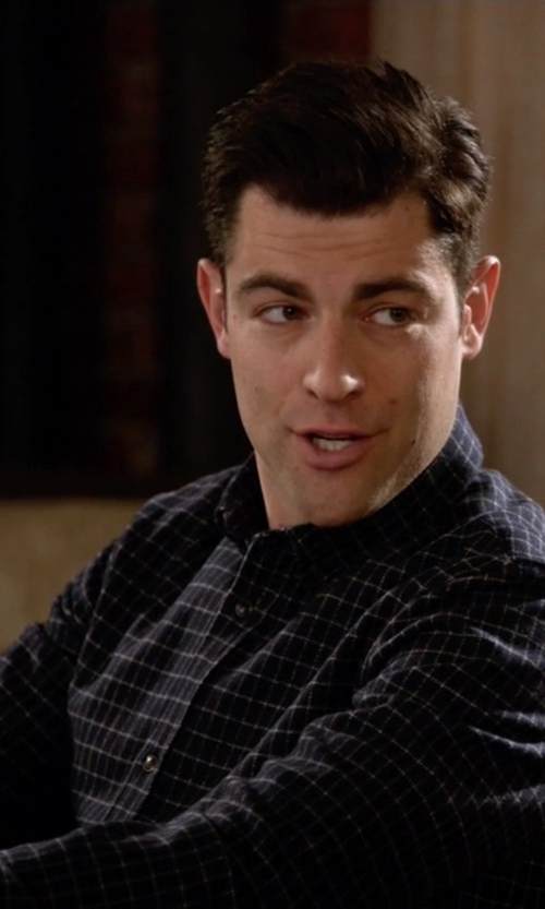 Max Greenfield with Selected Homme Check Button Down Shirt in New Girl