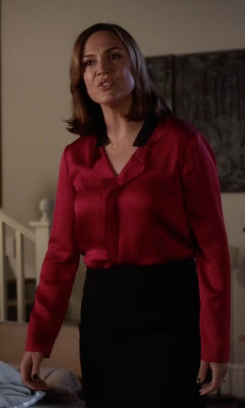Lesley Fera with Cut25 By Yigal Azrouel Patchwork Pencil Skirt in Pretty Little Liars