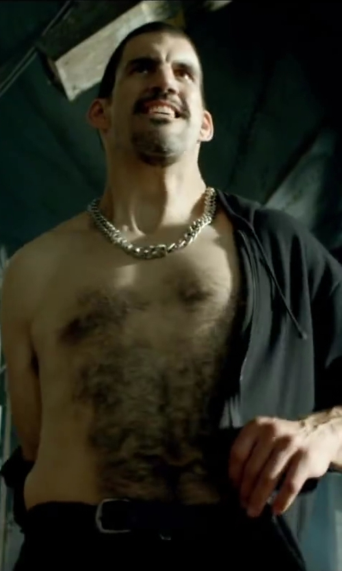Robert Maillet with BARNEYS NEW YORK Crisscross Stitched Leather Belt in Brick Mansions
