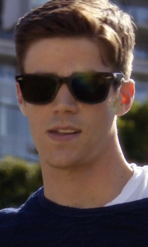 Grant Gustin with Ray-Ban New Wayfarer Classic Sunglasses in The Flash