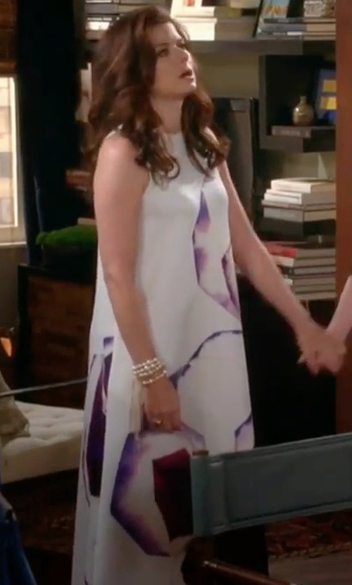 Debra Messing with Tory Burch Floral Long Dress in Will & Grace