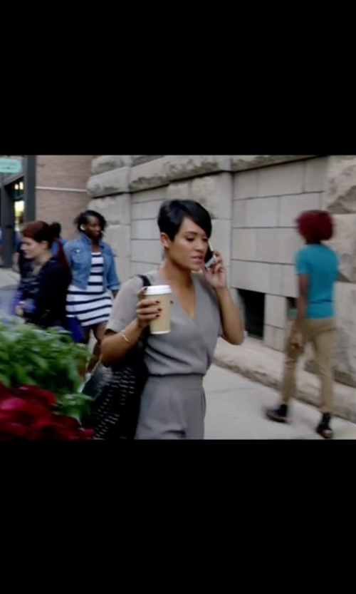 Grace Gealey with Warehouse D-Ring Wrap Jumpsuit in Empire