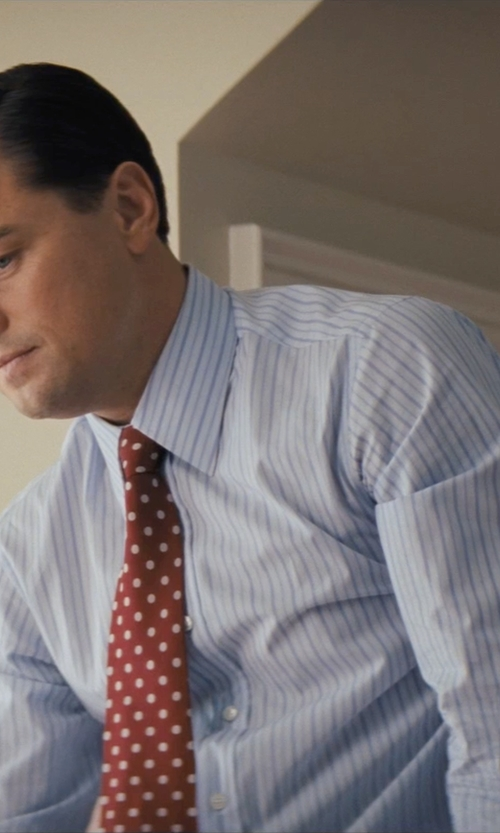 Leonardo DiCaprio with Ralph Lauren Striped Aston Dress Shirt in The Wolf of Wall Street