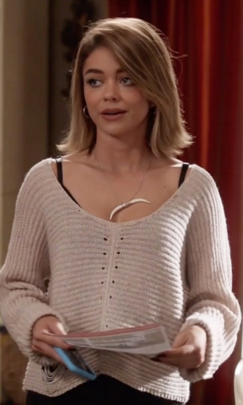 Sarah Hyland with 1.State Diagonal Stitch Peplum Sweater in Modern Family