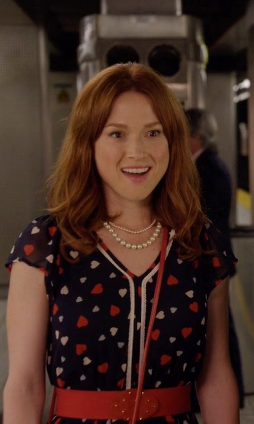 Ellie Kemper with Maison Jules Flutter-Sleeve Printed Dress in Unbreakable Kimmy Schmidt