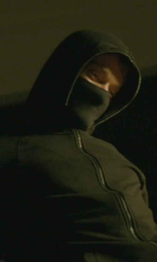 Alfie Allen with Arc'teryx 'Covert' Fleece Full Zip Hoodie Jacket in John Wick