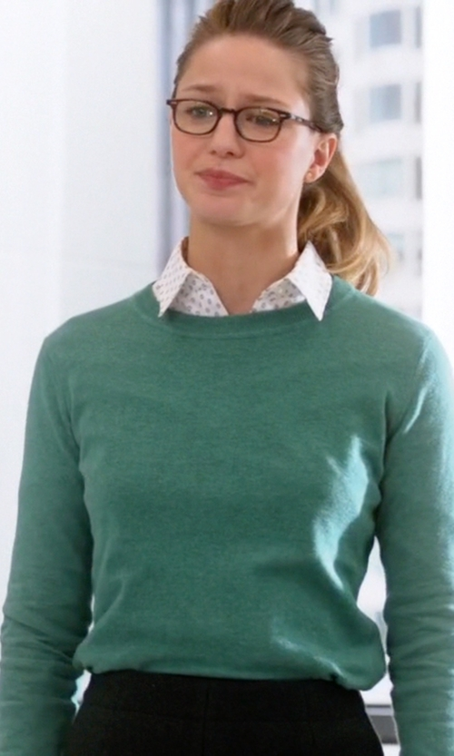 Melissa Benoist with Michael Michael Kors Crew Neck Sweater in Supergirl