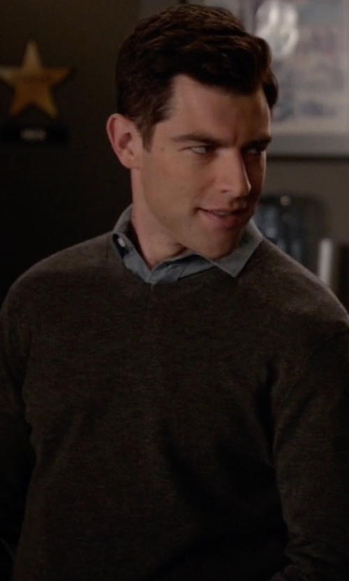 Max Greenfield with Zachary Prell Colorblock V-Neck Sweater in New Girl