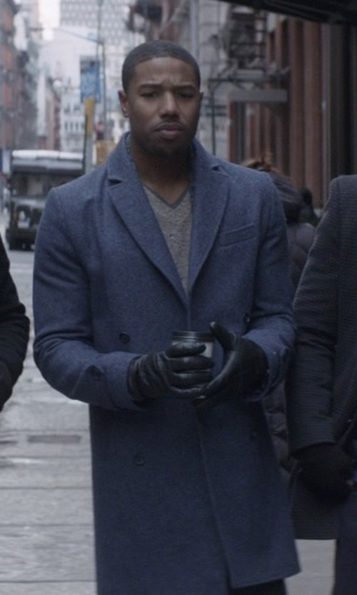 Michael B. Jordan with Hardy Amies Double-Breasted Wool-Blend Overcoat in That Awkward Moment
