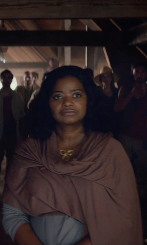 Octavia Spencer with Lucky Brand Long-Sleeve Point-Collar Solid Blouse in The Divergent Series: Insurgent