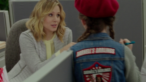 Kristen Bell with Ann Taylor Cropped Knit Tweed Jacket in The Boss