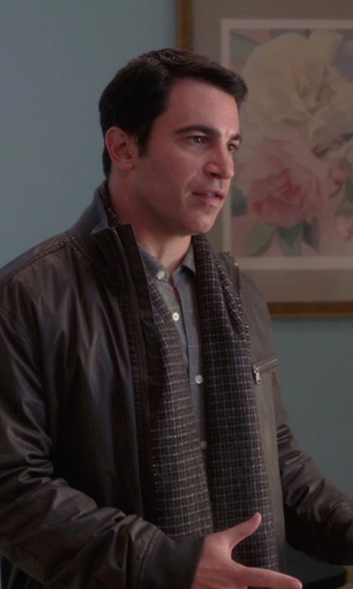 Chris Messina with Eleventy Leather Bomber Jacket in The Mindy Project