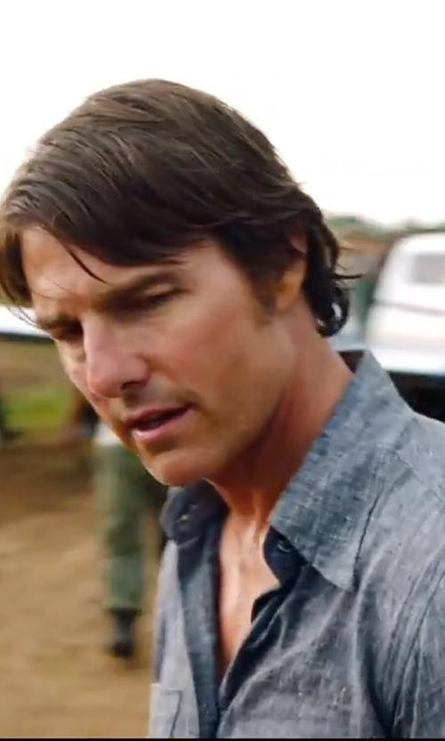 Tom Cruise with Vince Distressed Utility Shirt in American Made