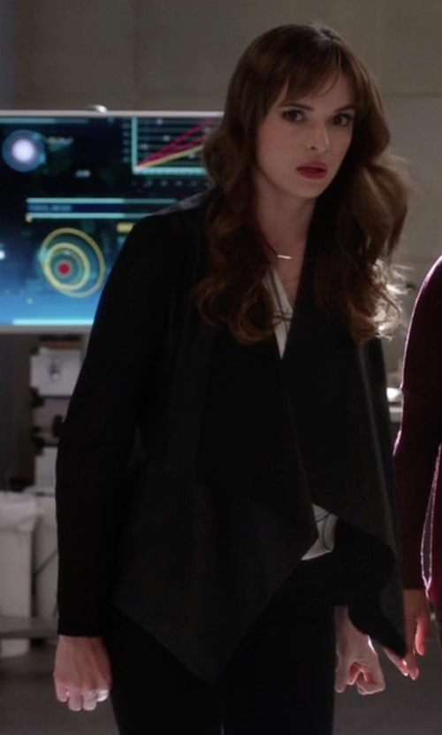 Danielle Panabaker with Generation Love Gisele Front Draped Jacket in The Flash