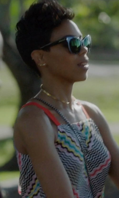 Jazmyn Simon with Bam-B Gold Minimal Square Cut Choker in Ballers