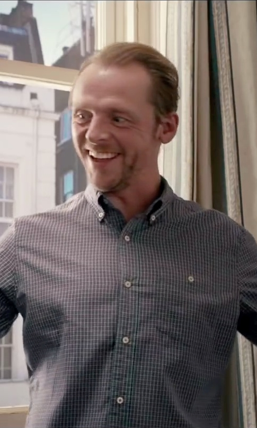 Simon Pegg with Rag & Bone Plaid Button-Up Shirt in Absolutely Anything