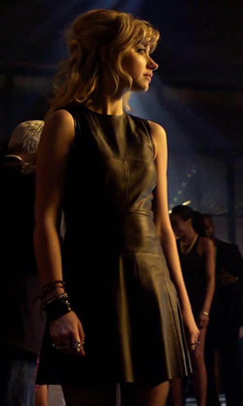 Imogen Poots with Dakota Collective Tarala Seamed Leather Dress in Need for Speed