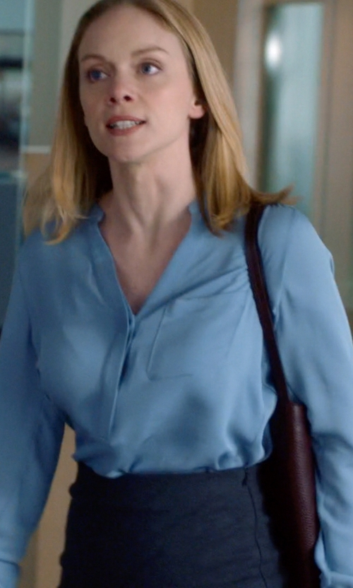 Christina Cole with Pinko Tag Collarless Blouse in Suits