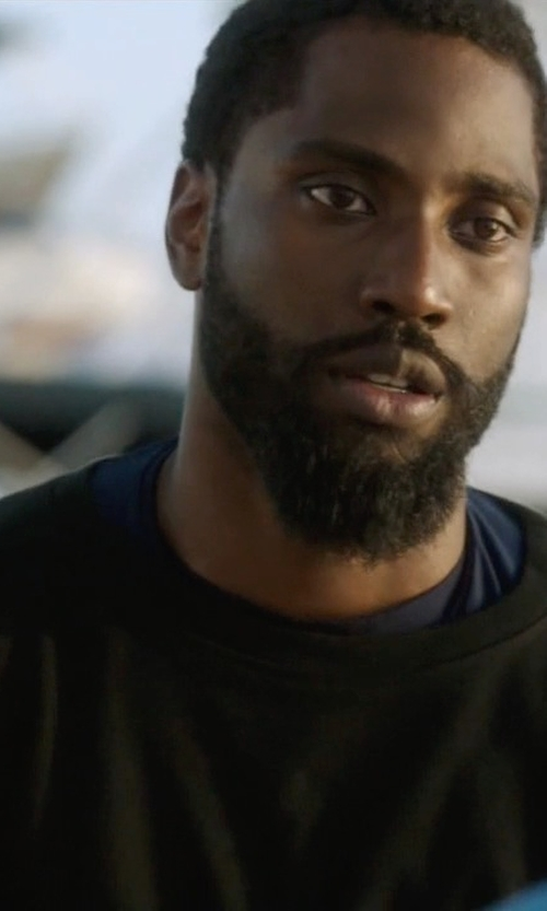 John David Washington with American Apparel Crew Neck T-Shirt in Ballers