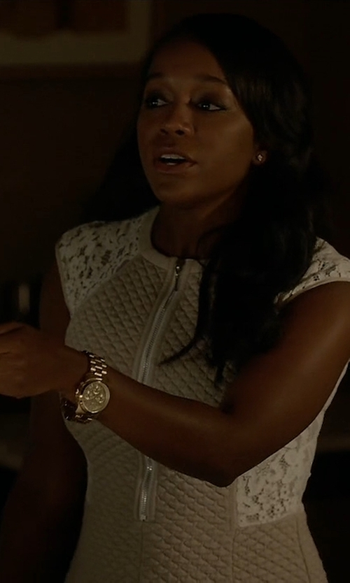 Aja Naomi King with Michael Michael Kors 'Bradshaw' Chronograph Bracelet Watch in How To Get Away With Murder