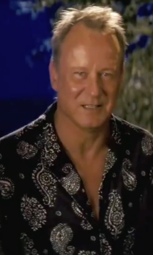 Stellan Skarsgård with Bugatchi Shaped Fit Paisley Sport Shirt in Mamma Mia!