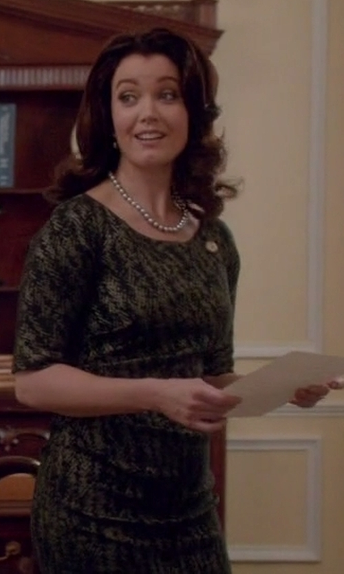 Bellamy Young with Marni Herringbone Print Dress in Scandal
