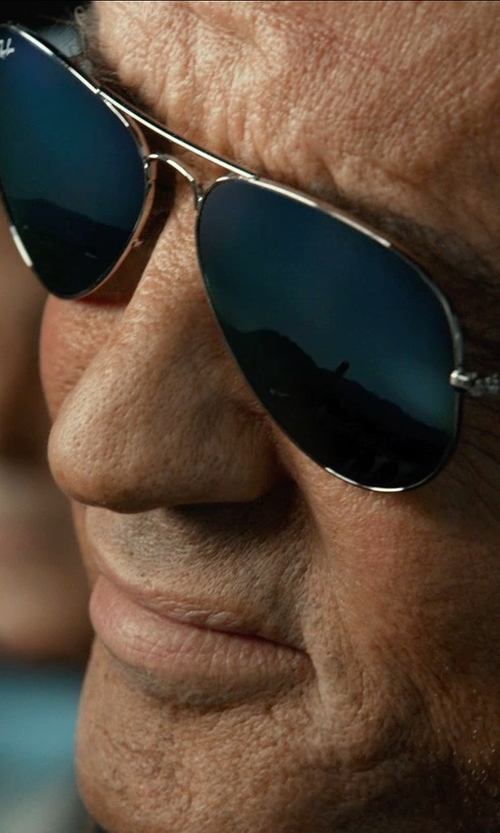 Sylvester Stallone with Ray-Ban Aviator Classic RB3025 W0879 Sunglasses (Customized) in The Expendables 3