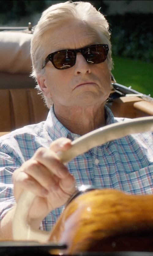 Michael Douglas with J.Crew Lightweight Shirt in Estate Blue Check in And So It Goes
