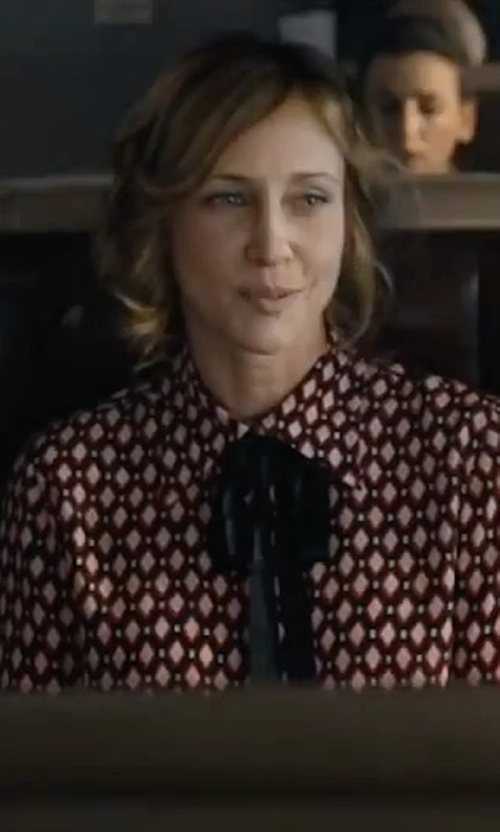 Vera Farmiga with Marc Jacobs Crêpe De Chine Bow Shirt in The Commuter