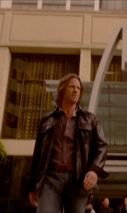 Thomas Jane with Harley Davidson Men's Long-Sleeve Leather Shirt Jacket in Vice